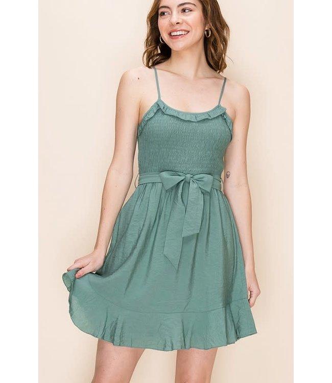 PODOS Smocked Top Dress w/ Ruffle Trim