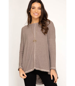 PODOS Open Back L/S Knit Top