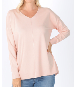 PODOS Hi Low Front Seam Sweater