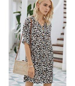 PODOS Casual Leopard Print Dress
