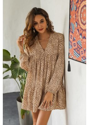 PODOS Leopard Print Ruffle Dress
