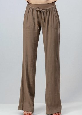 PODOS Linen Flare Pants w/ Drawstring Waist