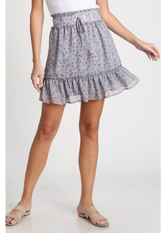 PODOS Floral Skirt w/ Ruffle Hem