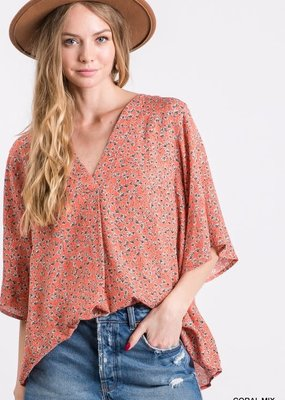PODOS Floral Print Bell Sleeve Top