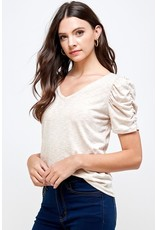 PODOS Ruched Sleeve V Neck Top