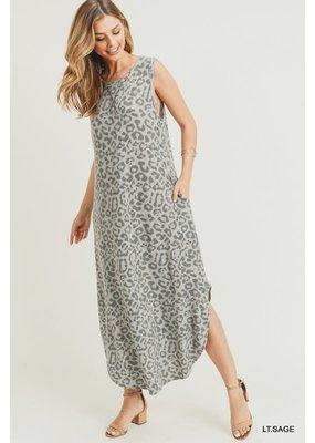 PODOS Mono Leopard Print Midi Dress