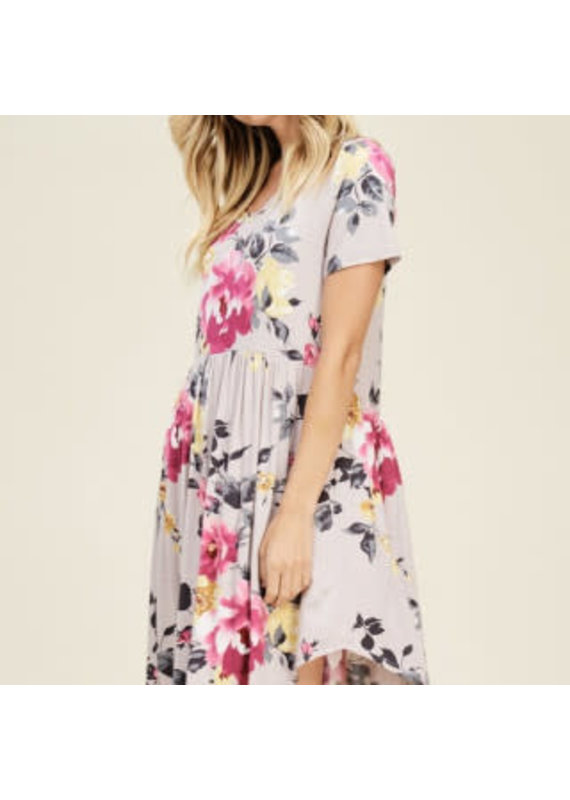 PODOS Floral Print Baby Doll Dress