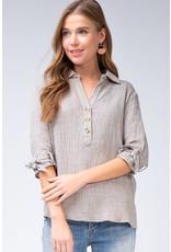 PODOS Self-tie Sleeve, Button Front Top