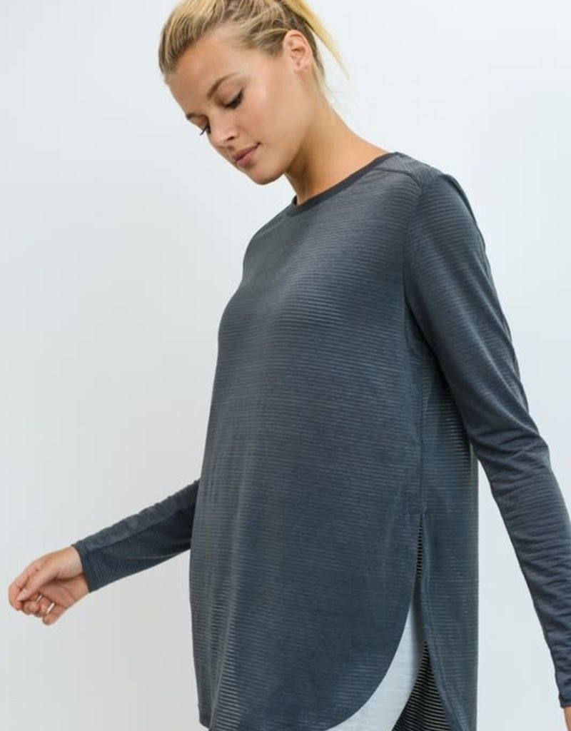 PODOS Ribbed LS Flowy Top