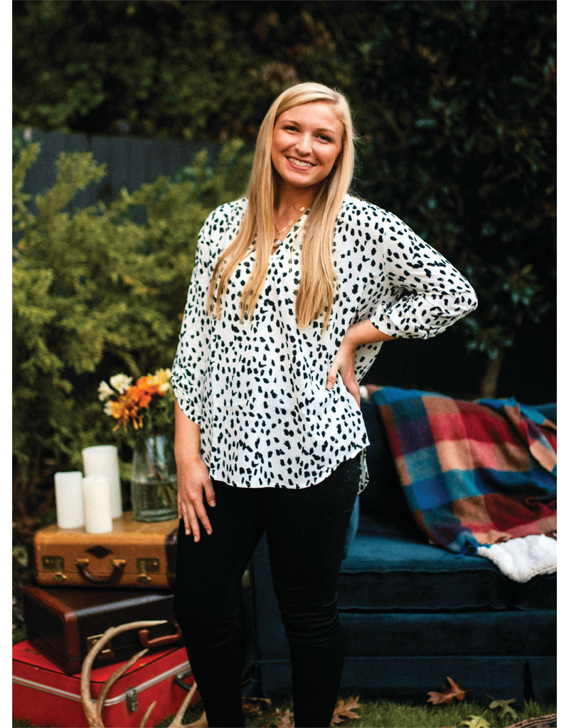 PODOS Dot Print Top w/ 3/4 Roll-up Sleeves