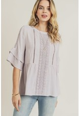 PODOS Bell Sleeve Top w/ Lace Detail