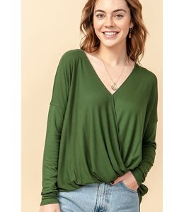 PODOS Long Sleeve Surplice Top