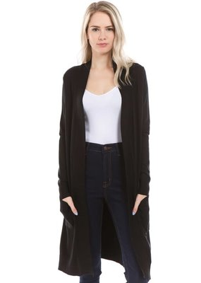 PODOS Long Open Front Cardigan