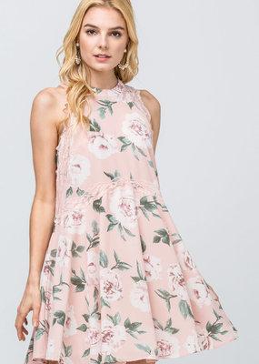 PODOS Floral High Neck Dress
