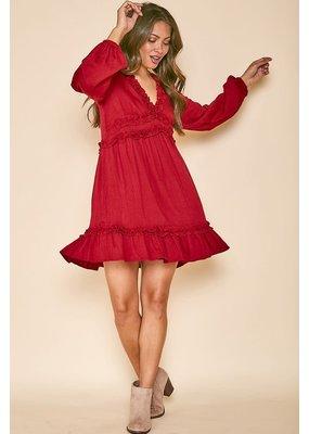 PODOS Asenette Dress LS w/ Ruffle Trim