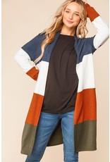 PODOS Long Color Block Cardigan