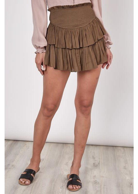 PODOS Smocked Tiered Skirt