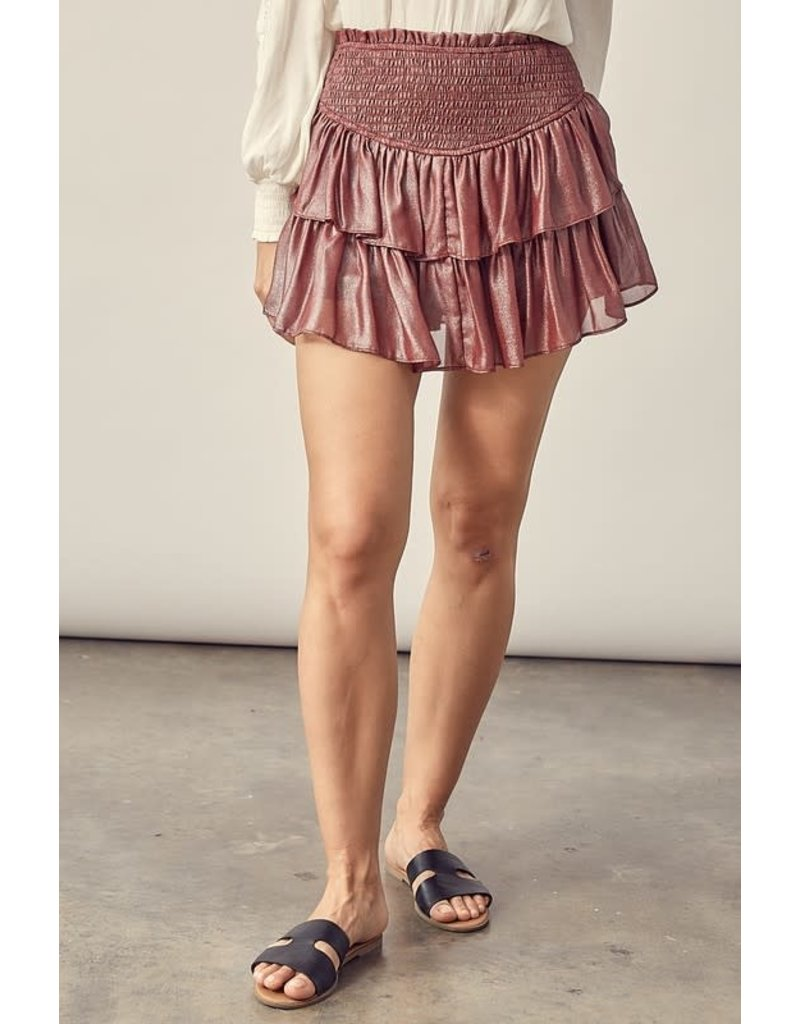 PODOS Smocked Tiered Skirt w/ Shorts
