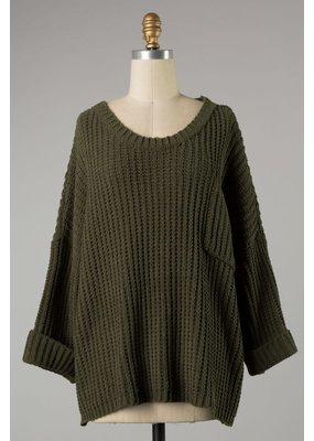PODOS CUFFED SLEEVES FRONT POCKET KNIT SWEATER