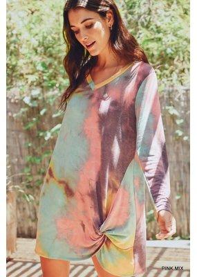 PODOS Tie-Dye L/S TwistHem Dress