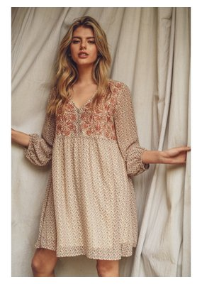 PODOS Embroidered Yoke Baby Doll Dress