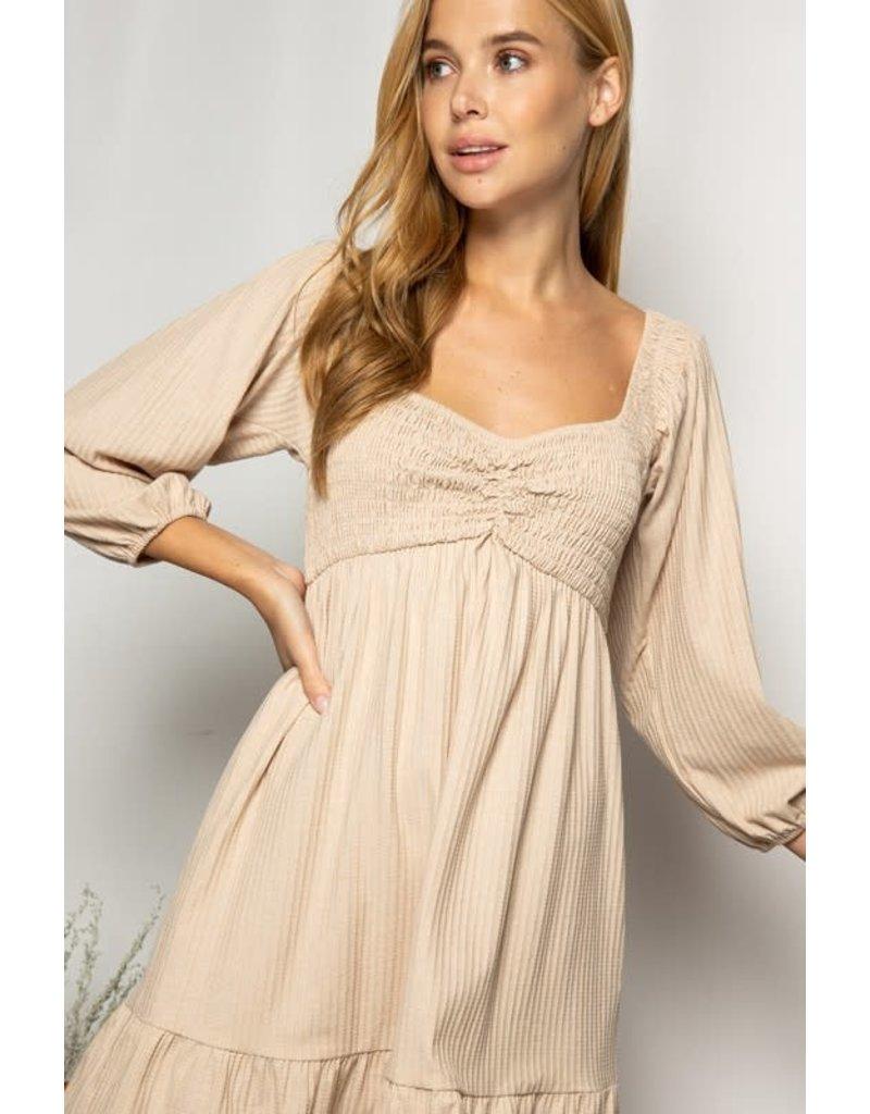 PODOS Smocked Bodice LS Knit Dress