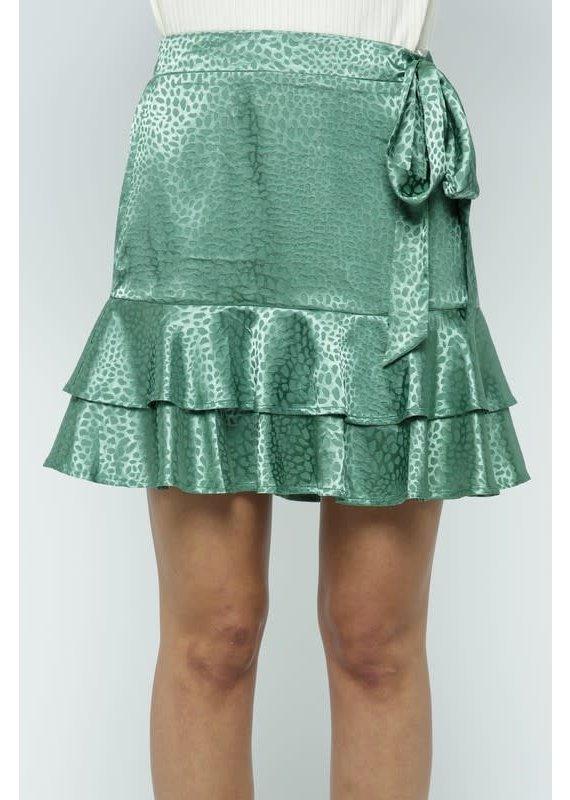 PODOS Tonal Print Ruffle Mini Skirt
