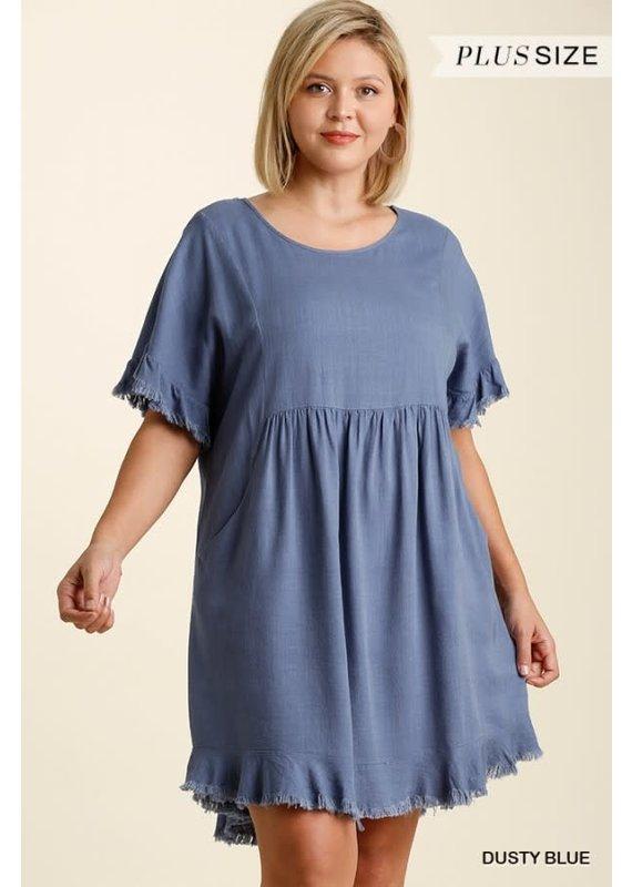 PODOS Linen Blend Dress PLUS