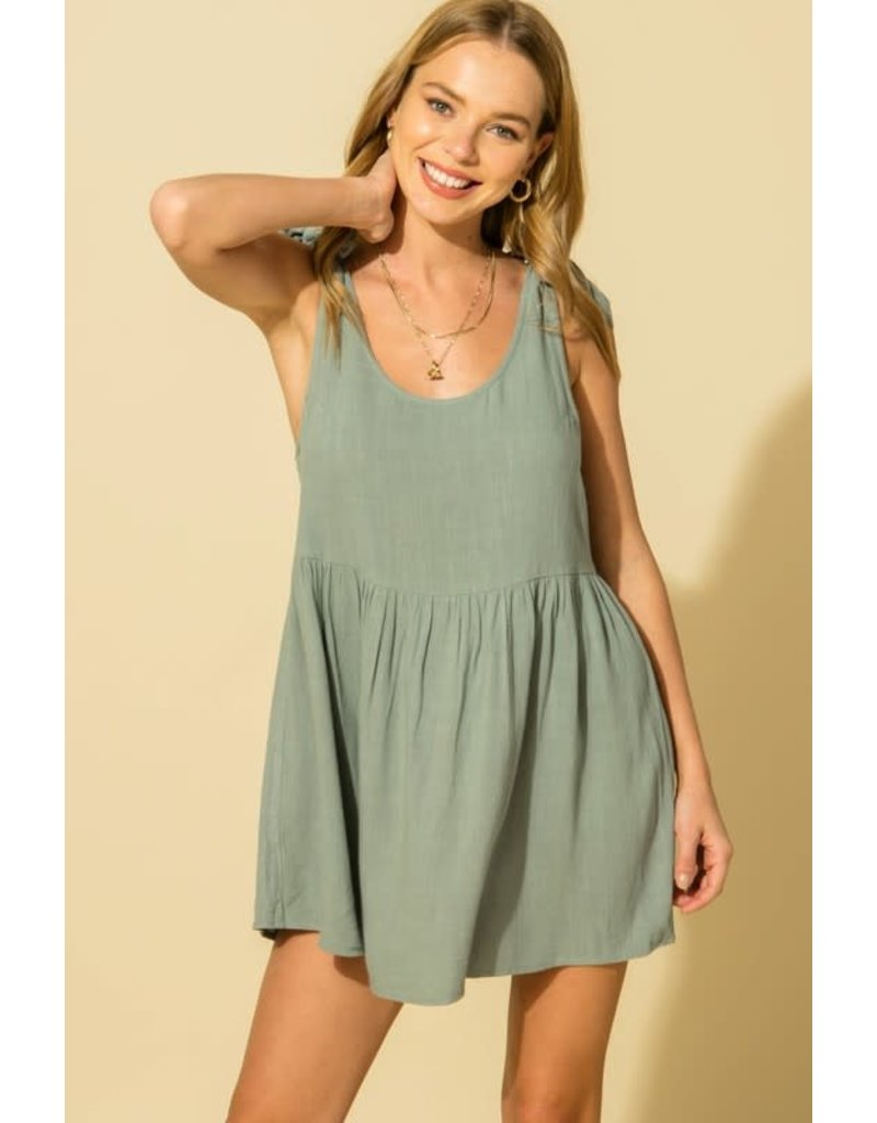 PODOS Tie Shoulder Babydoll Dress