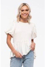 PODOS Bubble Sleeve Knit Top