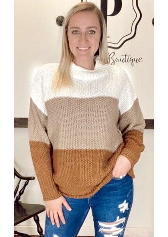 PODOS Color Block Sweater