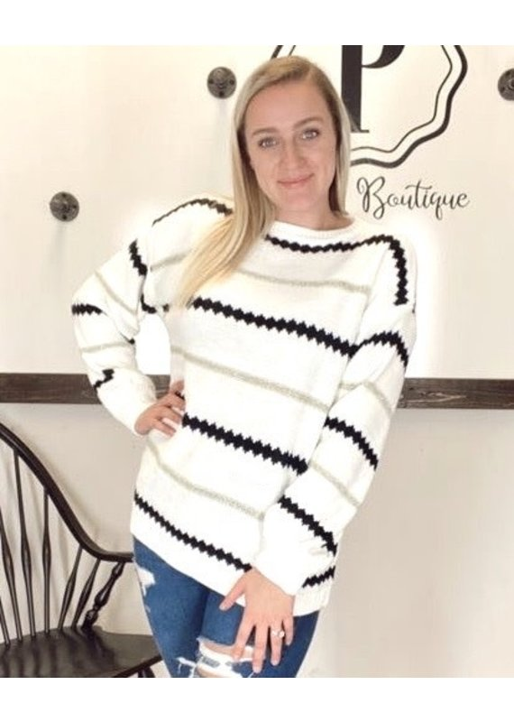 PODOS Oversized Stripe Sweater