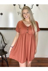 PODOS Babydoll 3-Button Dress