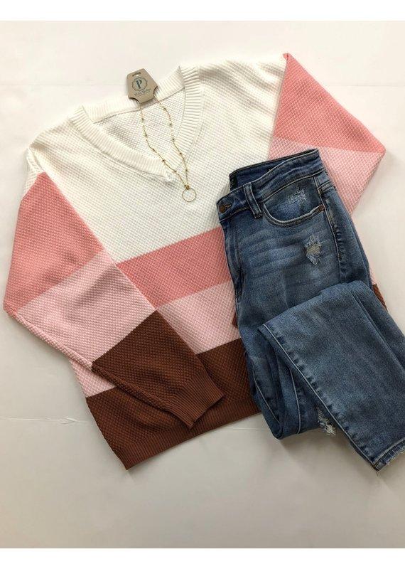 PODOS Spring Color Block Sweater