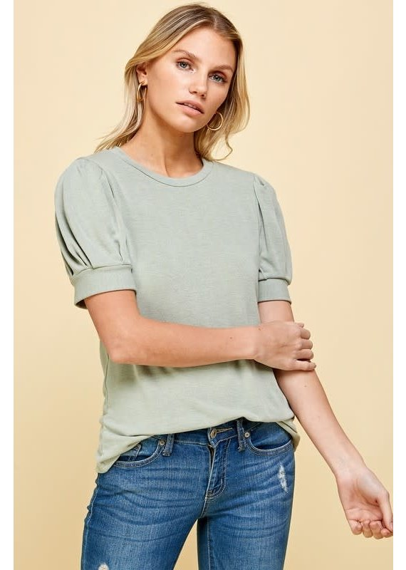 PODOS Puffy Sleeve Knit Top