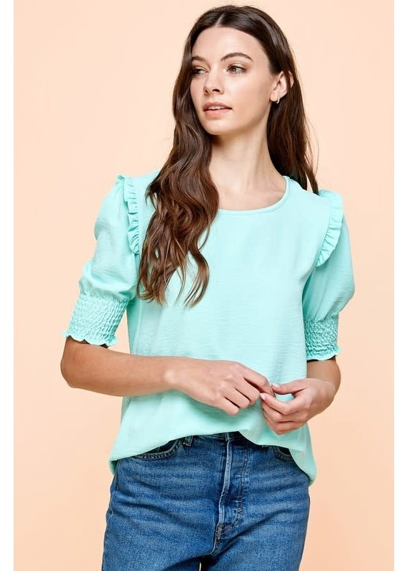 PODOS Smocked Sleeve Top