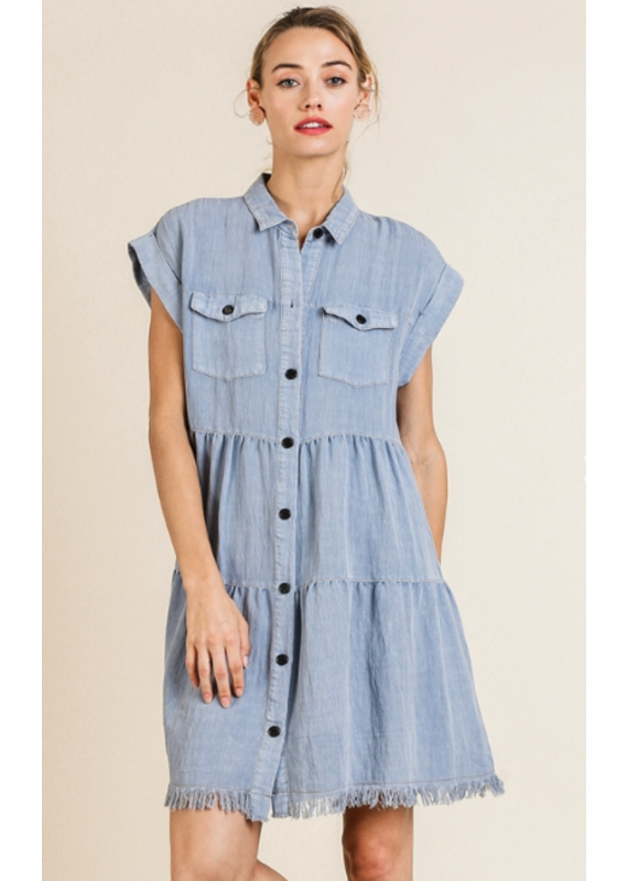 PODOS Button Front Tiered Dress