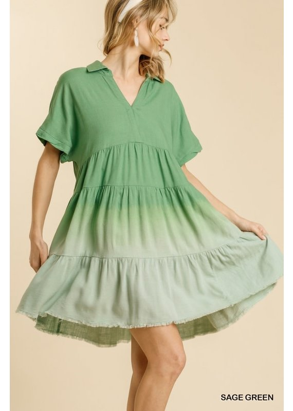 PODOS Dip Dyed Tiered Dress