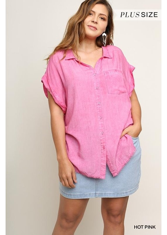 PODOS Washed Button Front Shirt PLUS