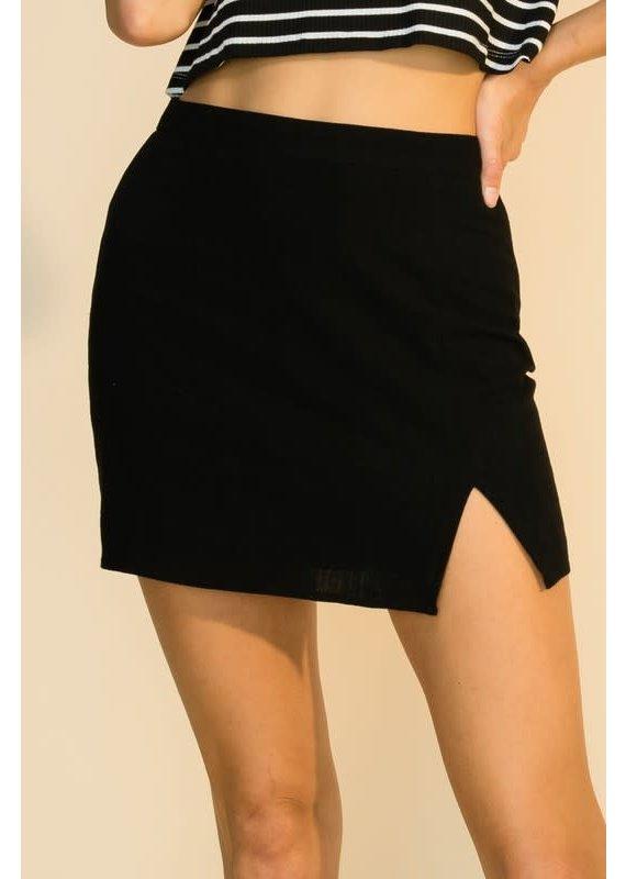 PODOS Front Slit Mini Skirt