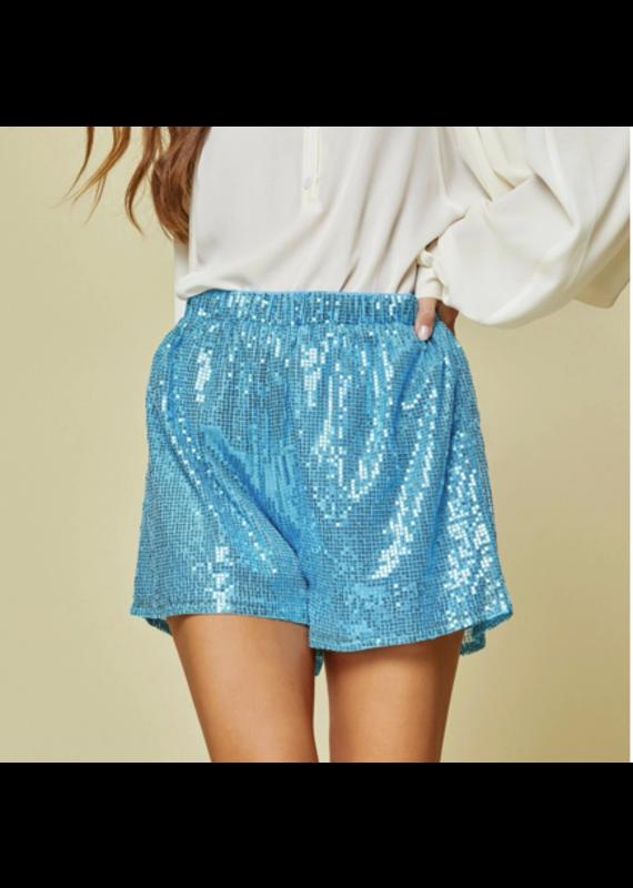 PODOS Sequin Shorts w/ Elastic Waist