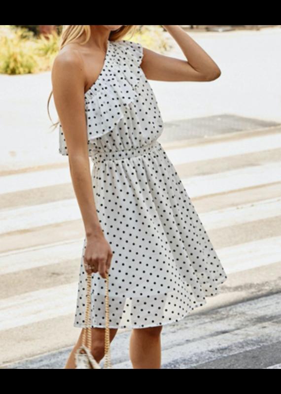 PODOS One Shoulder Polka Dot Dress