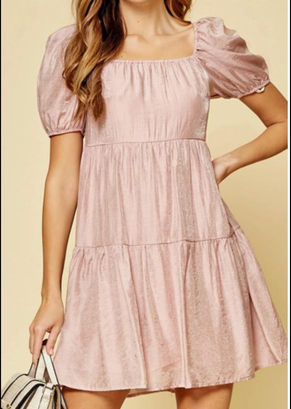 PODOS Puff Sleeve, Smocked Back Dress