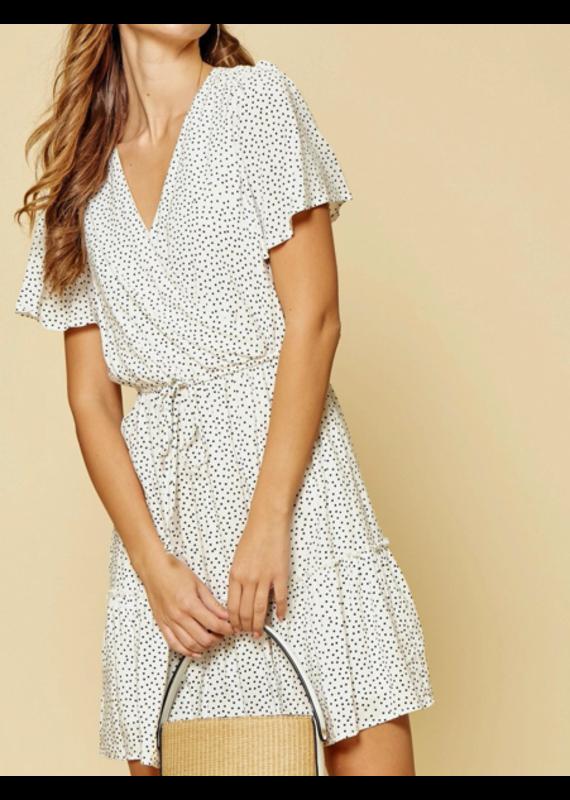 PODOS Half Sleeve Surplice Dress