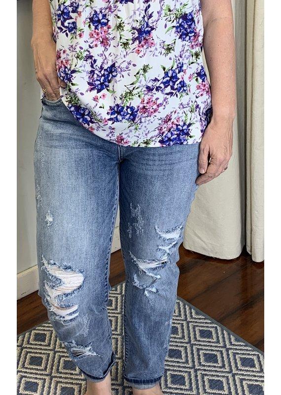 PODOS Mid Rise Destroyed Boyfriend Jeans