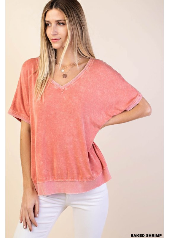 PODOS Rib Mixed Washed Knit Top