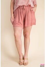 PODOS Textured Drawcord Shorts PLUS