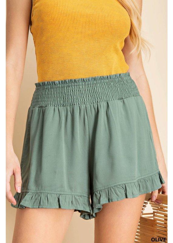 PODOS Smocked Waist Ruffle Bottom Shorts