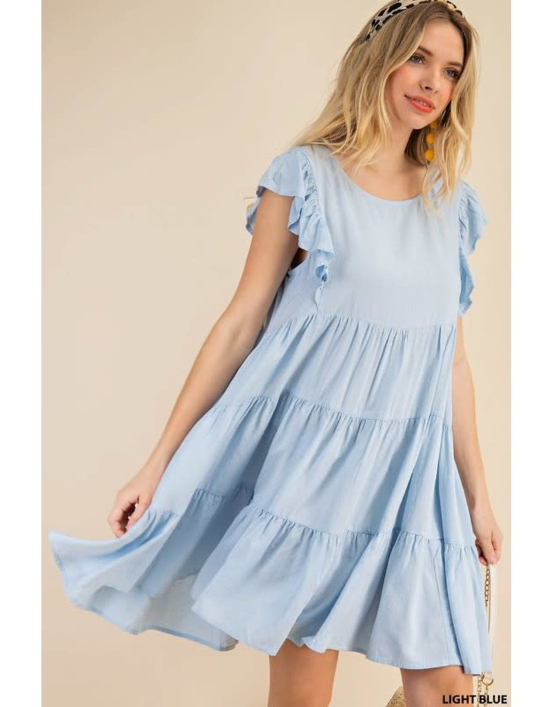 PODOS Tiered Cap Sleeve Dress