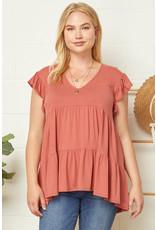 PODOS V-Neck Flutter Sleeve Knit Top